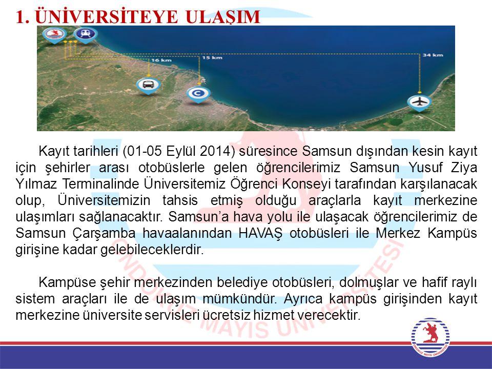 1. ÜNİVERSİTEYE ULAŞIM Kayıt tarihleri (01-05 Eylül 2014) süresince Samsun dışından kesin kayıt için şehirler arası otobüslerle gelen öğrencilerimiz S