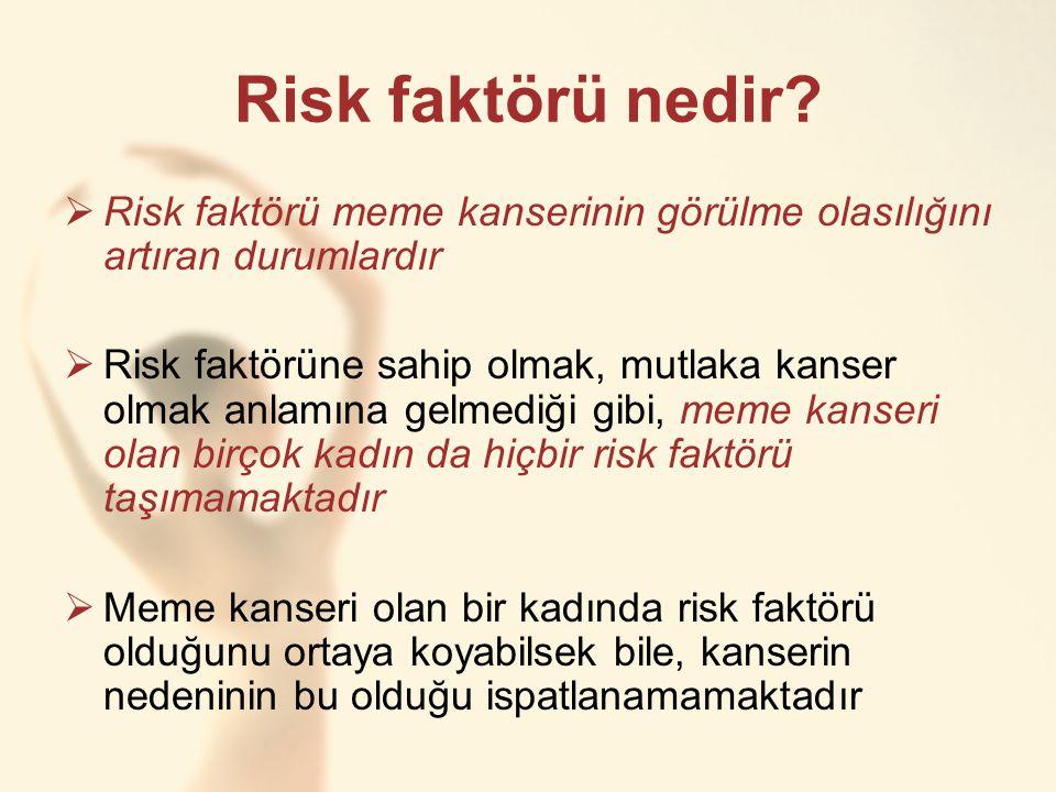 Risk faktörü nedir?  Risk faktörü meme kanserinin görülme olasılığını artıran durumlardır  Risk faktörüne sahip olmak, mutlaka kanser olmak anlamına