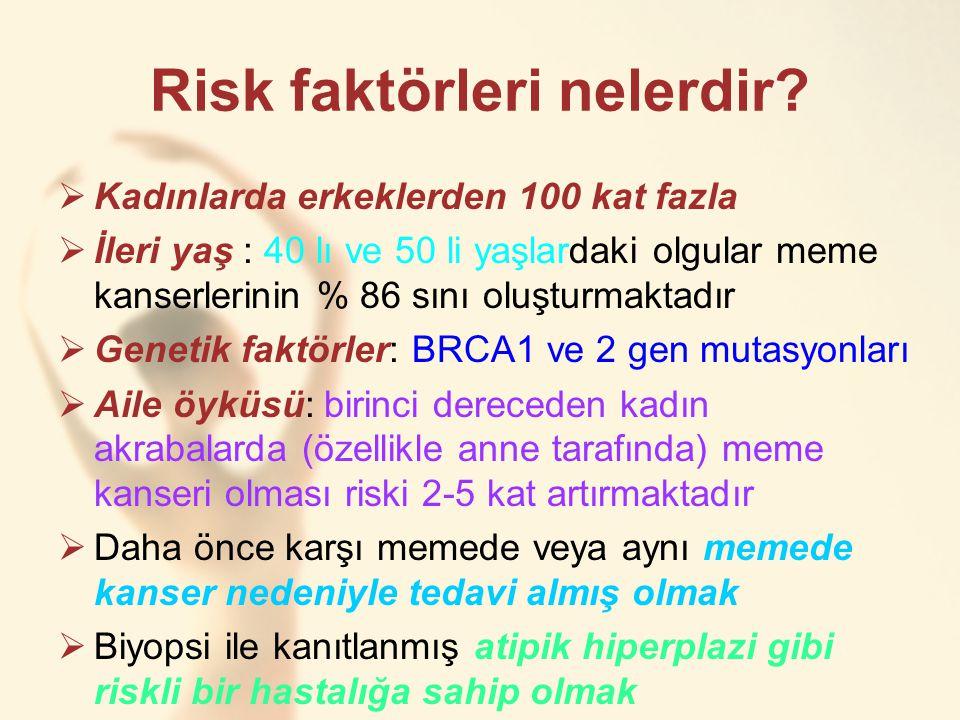 Risk faktörleri nelerdir?  Kadınlarda erkeklerden 100 kat fazla  İleri yaş : 40 lı ve 50 li yaşlardaki olgular meme kanserlerinin % 86 sını oluşturm