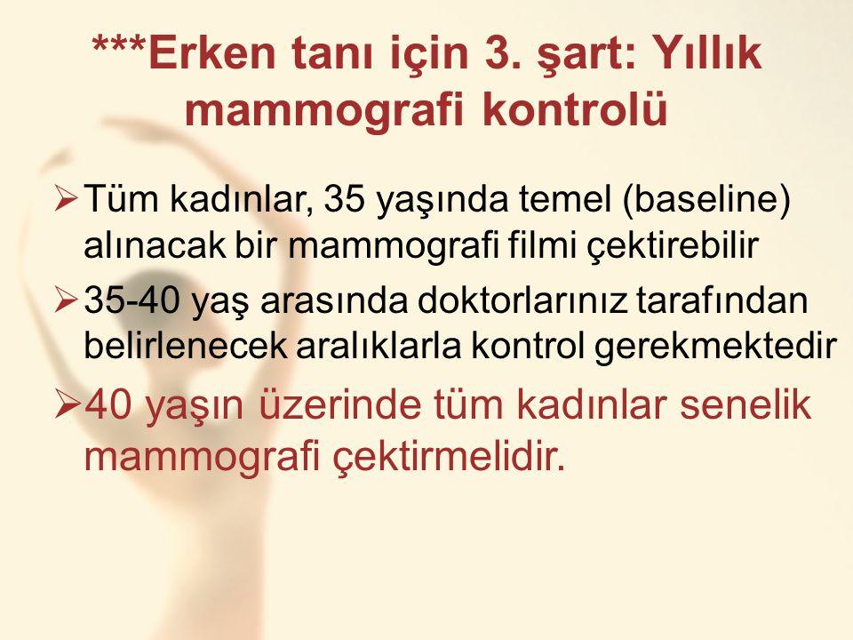 ***Erken tanı için 3. şart: Yıllık mammografi kontrolü  Tüm kadınlar, 35 yaşında temel (baseline) alınacak bir mammografi filmi çektirebilir  35-40