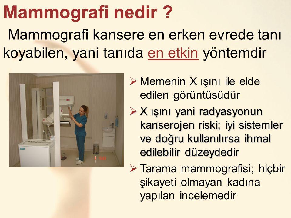 Mammografi nedir ? Mammografi kansere en erken evrede tanı koyabilen, yani tanıda en etkin yöntemdir  Memenin X ışını ile elde edilen görüntüsüdür 