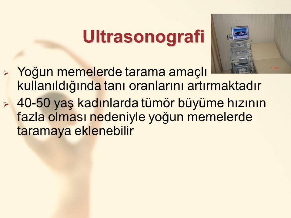 Ultrasonografi  Yoğun memelerde tarama amaçlı kullanıldığında tanı oranlarını artırmaktadır  40-50 yaş kadınlarda tümör büyüme hızının fazla olması