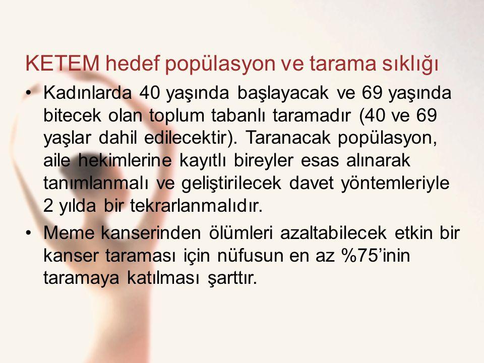 KETEM hedef popülasyon ve tarama sıklığı Kadınlarda 40 yaşında başlayacak ve 69 yaşında bitecek olan toplum tabanlı taramadır (40 ve 69 yaşlar dahil e