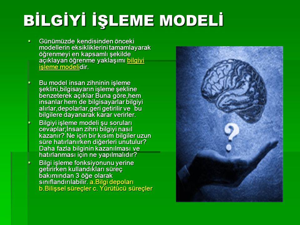 BİLGİYİ İŞLEME MODELİ  Günümüzde kendisinden önceki modellerin eksikliklerini tamamlayarak öğrenmeyi en kapsamlı şekilde açıklayan öğrenme yaklaşımı