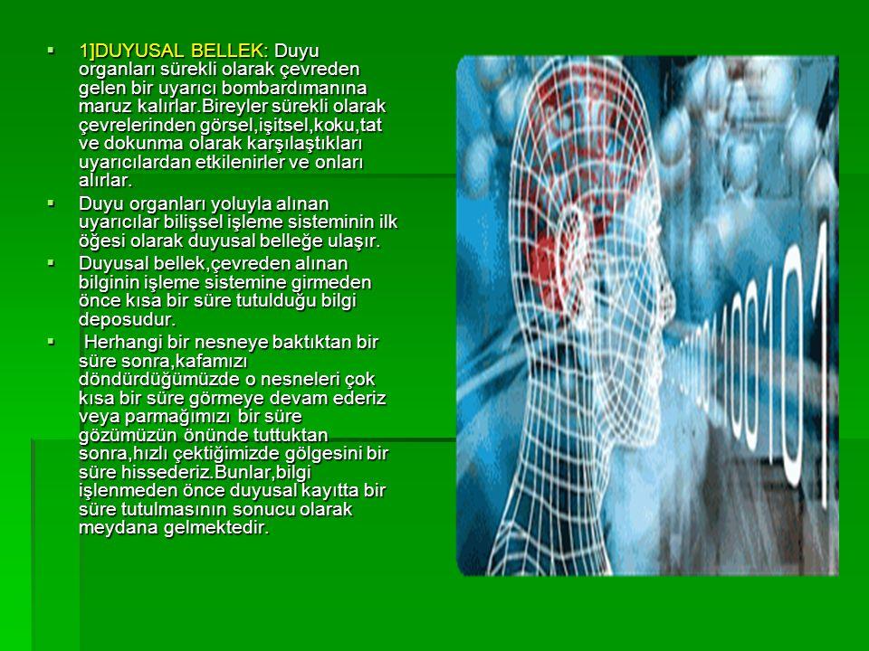  Duyusal belleğin çevresel uyarıcıları alma kapasitesi sınırsızdır.