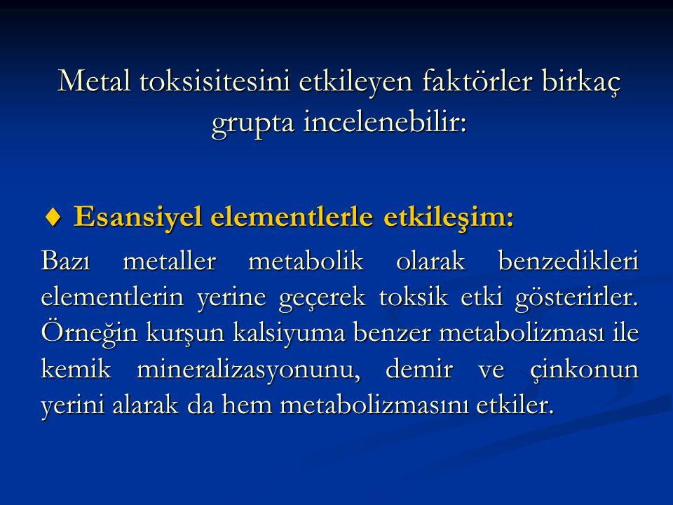 Metal toksisitesini etkileyen faktörler birkaç grupta incelenebilir:  Esansiyel elementlerle etkileşim: Bazı metaller metabolik olarak benzedikleri elementlerin yerine geçerek toksik etki gösterirler.