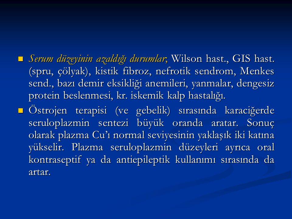 Serum düzeyinin azaldığı durumlar; Wilson hast., GIS hast. (spru, çölyak), kistik fibroz, nefrotik sendrom, Menkes send., bazı demir eksikliği anemile