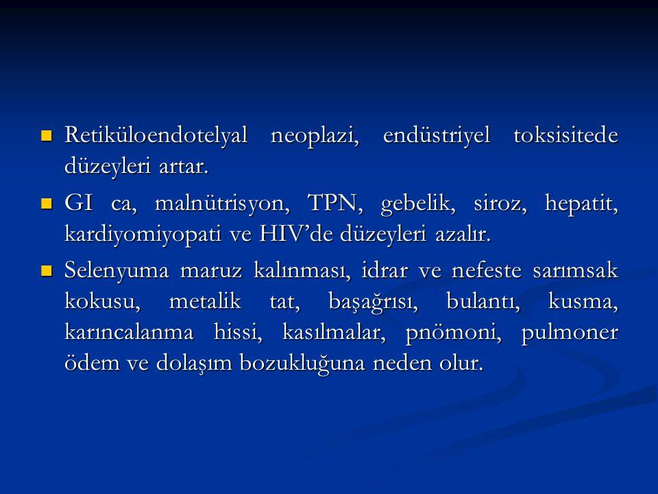 Retiküloendotelyal neoplazi, endüstriyel toksisitede düzeyleri artar. Retiküloendotelyal neoplazi, endüstriyel toksisitede düzeyleri artar. GI ca, mal