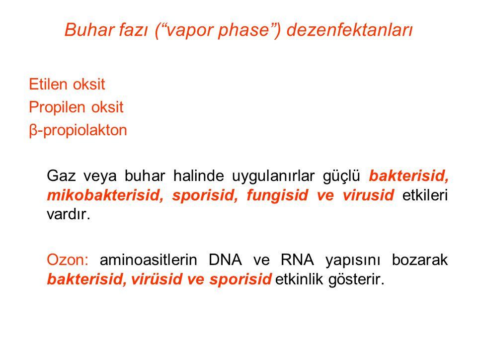 """Buhar fazı (""""vapor phase"""") dezenfektanları Etilen oksit Propilen oksit β-propiolakton Gaz veya buhar halinde uygulanırlar güçlü bakterisid, mikobakter"""