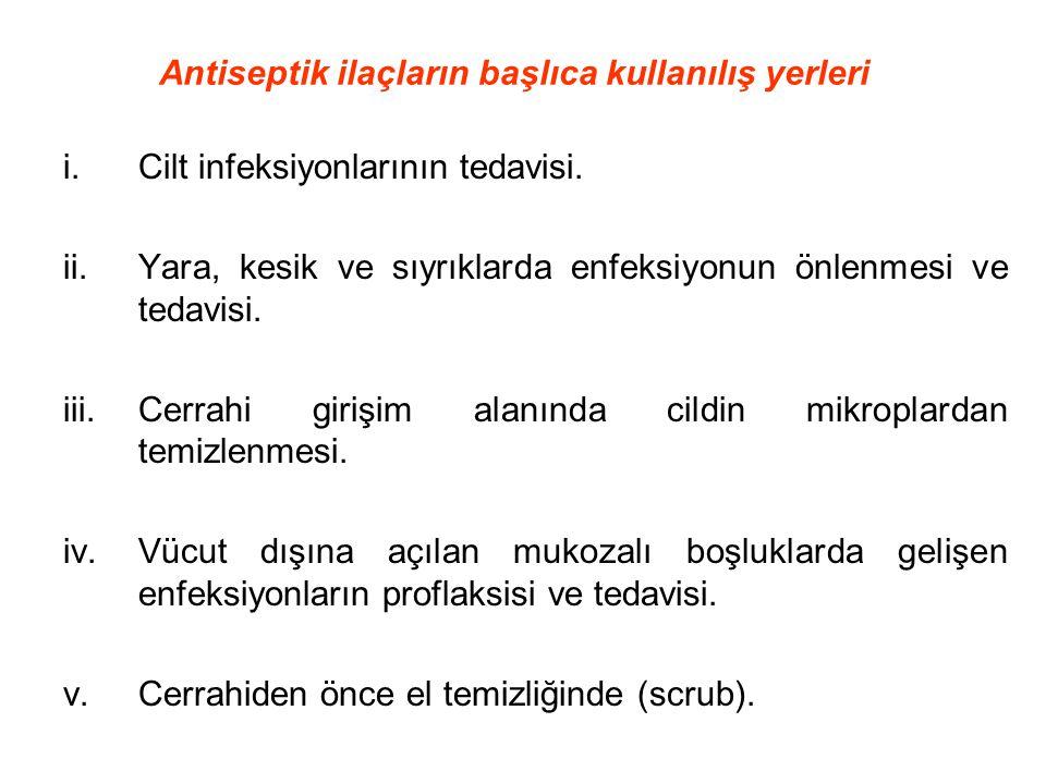 i.Cilt infeksiyonlarının tedavisi. ii.Yara, kesik ve sıyrıklarda enfeksiyonun önlenmesi ve tedavisi. iii.Cerrahi girişim alanında cildin mikroplardan