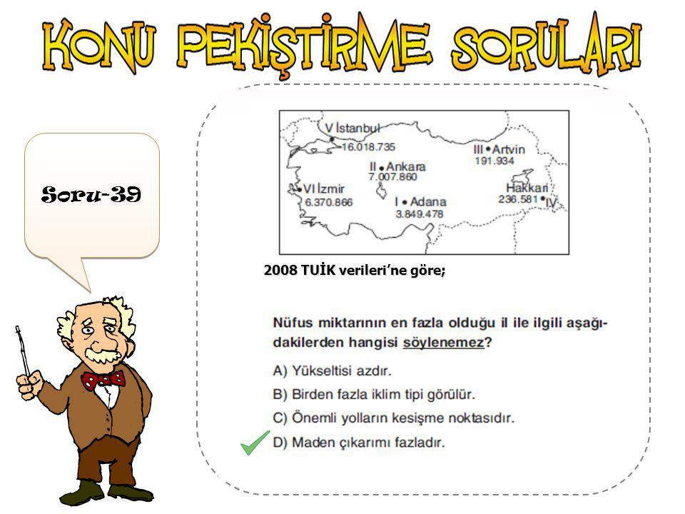 Soru-38 2008 TUİK verileri'ne göre;