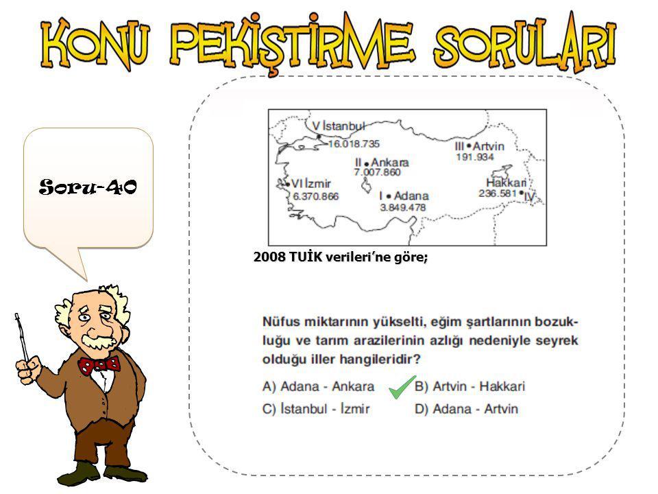 Soru-39 2008 TUİK verileri'ne göre;