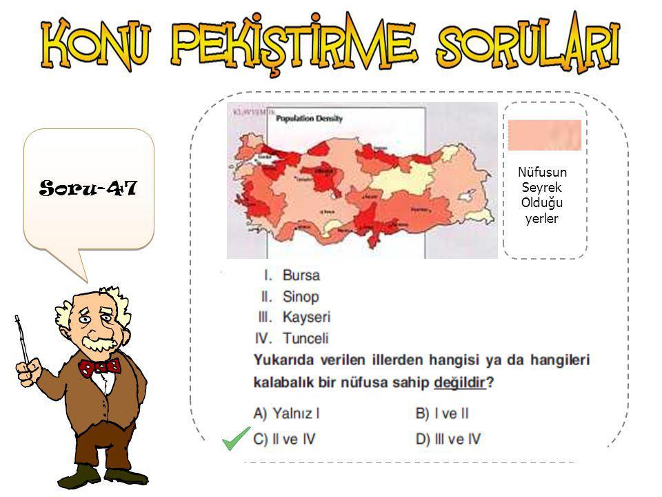 Soru-46 Nüfusun Sık Olduğu yerler Yukarıdaki haritaya göre; Artvin