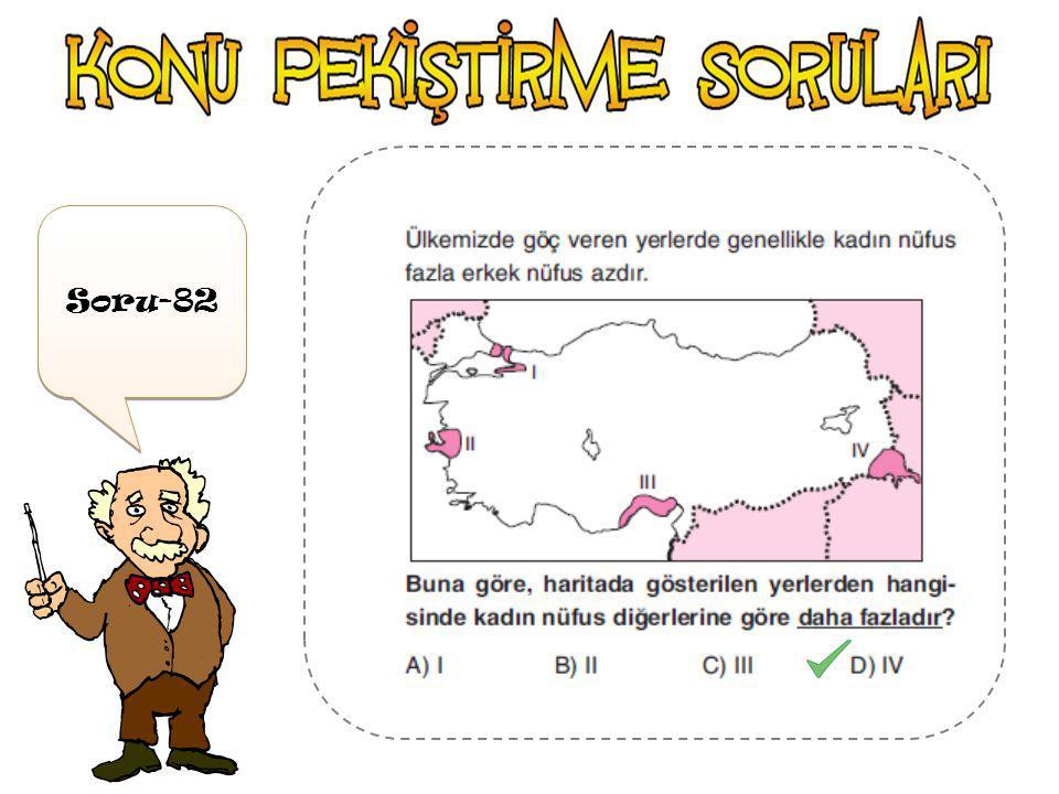 Soru-81 Yukarıdaki bu bilgilere göre; Ankara 'nın km'2 'ye düşen Nüfus Yoğunluğu miktarı yaklaşık kaçtır ? A) 25 B) 1000 C) 6500 D) 260