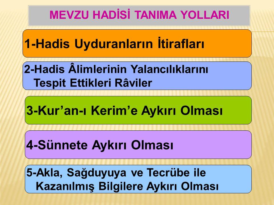 1-Hadis Uyduranların İtirafları 2-Hadis Âlimlerinin Yalancılıklarını Tespit Ettikleri Râviler 3-Kur'an-ı Kerim'e Aykırı Olması 4-Sünnete Aykırı Olması