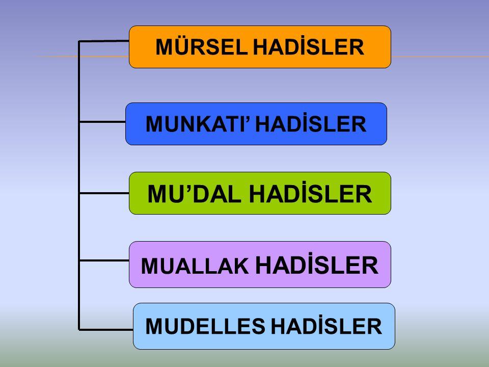 MÜRSEL HADİSLER MUNKATI' HADİSLER MU'DAL HADİSLER MUALLAK HADİSLER MUDELLES HADİSLER
