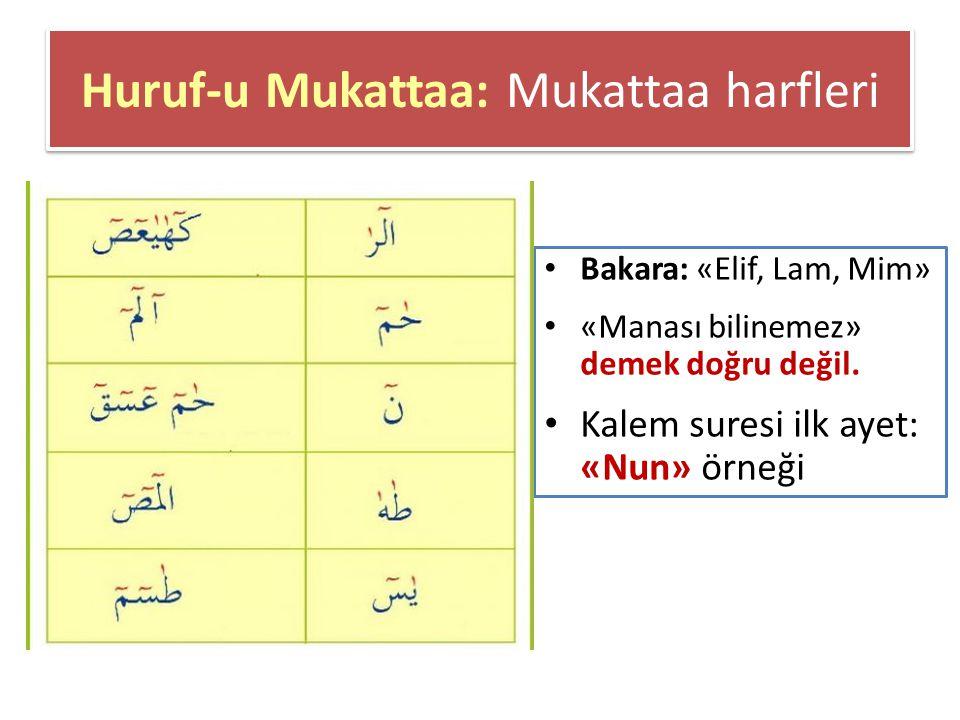 Huruf-u Mukattaa: Mukattaa harfleri Bakara: «Elif, Lam, Mim» «Manası bilinemez» demek doğru değil.