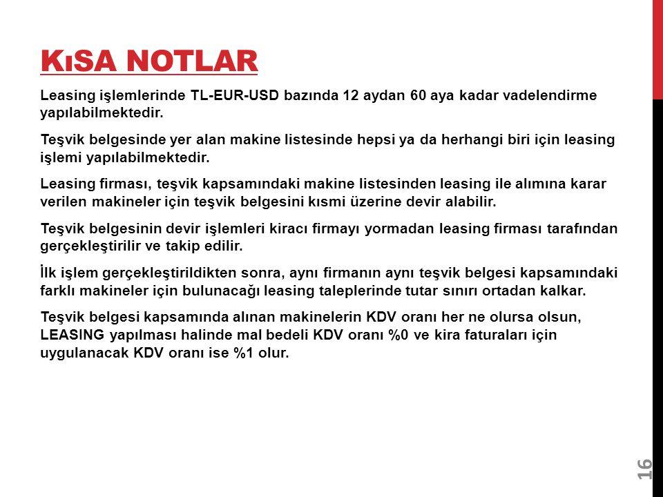 KıSA NOTLAR Leasing işlemlerinde TL-EUR-USD bazında 12 aydan 60 aya kadar vadelendirme yapılabilmektedir. Teşvik belgesinde yer alan makine listesinde