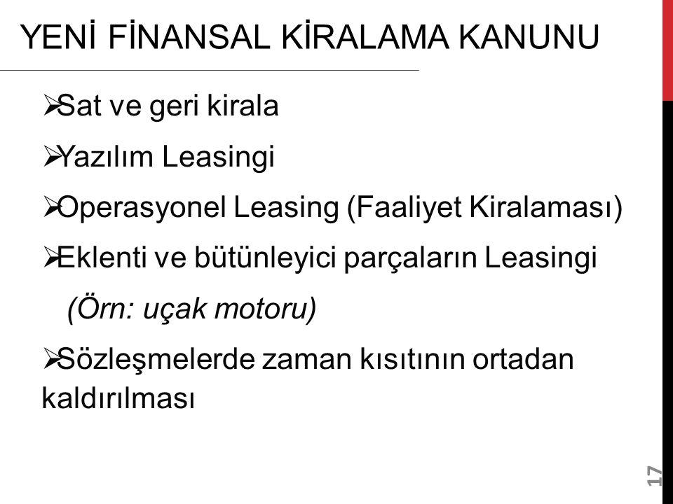 17 YENİ FİNANSAL KİRALAMA KANUNU  Sat ve geri kirala  Yazılım Leasingi  Operasyonel Leasing (Faaliyet Kiralaması)  Eklenti ve bütünleyici parçalar