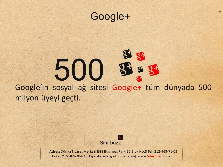 Sihirbuzz Adres: Dünya Ticaret Merkezi EGS Business Park B2 Blok No:8 Tel: 212-463-71-03 ǀ Faks: 212- 465-30-83 ǀ E-posta: info@sihirbuzz.comǀ www.Sihirbuzz.com Google+ 500 Google'ın sosyal ağ sitesi Google+ tüm dünyada 500 milyon üyeyi geçti.