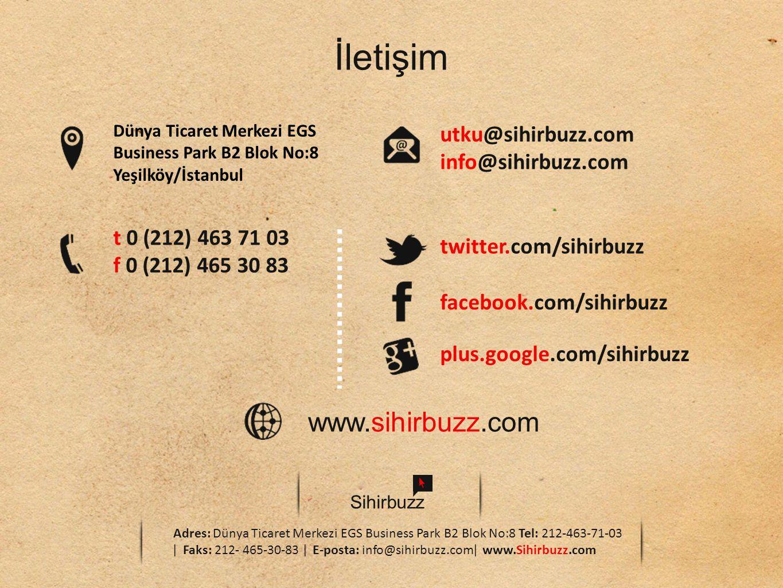 Sihirbuzz Adres: Dünya Ticaret Merkezi EGS Business Park B2 Blok No:8 Tel: 212-463-71-03 ǀ Faks: 212- 465-30-83 ǀ E-posta: info@sihirbuzz.comǀ www.Sihirbuzz.com İletişim Dünya Ticaret Merkezi EGS Business Park B2 Blok No:8 Yeşilköy/İstanbul t 0 (212) 463 71 03 f 0 (212) 465 30 83 utku@sihirbuzz.com info@sihirbuzz.com twitter.com/sihirbuzz facebook.com/sihirbuzz plus.google.com/sihirbuzz www.sihirbuzz.com