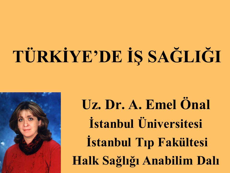 TÜRKİYE'DE İŞ SAĞLIĞI Uz. Dr. A. Emel Önal İstanbul Üniversitesi İstanbul Tıp Fakültesi Halk Sağlığı Anabilim Dalı