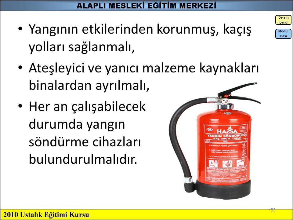 82 Yangına Karşı Alınması Gereken Önlemler Yapısal Olarak Alınabilecek Önlemler: Yapılarda yanmaz veya yanması güç yapı malzemeleri kullanılmalı, Yang