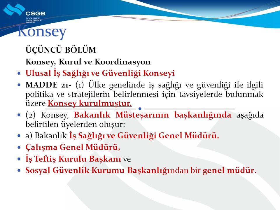 ÜÇÜNCÜ BÖLÜM Konsey, Kurul ve Koordinasyon Ulusal İş Sağlığı ve Güvenliği Konseyi MADDE 21- (1) Ülke genelinde iş sağlığı ve güvenliği ile ilgili poli