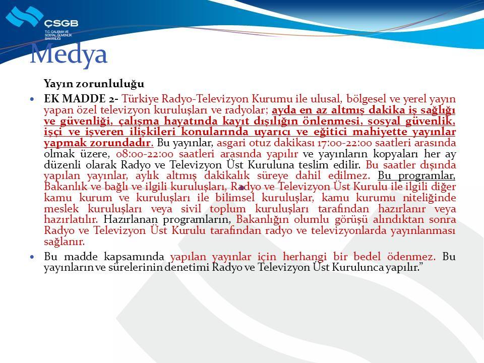 Yayın zorunluluğu EK MADDE 2- Türkiye Radyo-Televizyon Kurumu ile ulusal, bölgesel ve yerel yayın yapan özel televizyon kuruluşları ve radyolar; ayda