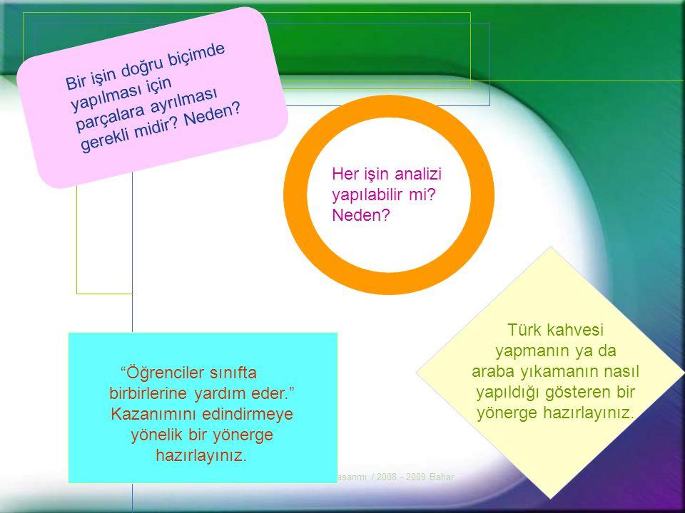 BTÖ 212 Öğretim Tasarımı / 2008 - 2009 Bahar3 İş Analizi Öğretim tasarımı sürecinde kullanılan iş analizi, öğrencilerin öğrenme ortamlarında nasıl hareket edeceklerini bildiklerini düşündüğümüz öğrenme sürecini analiz eden ve açıklığa kavuşturan süreçtir.