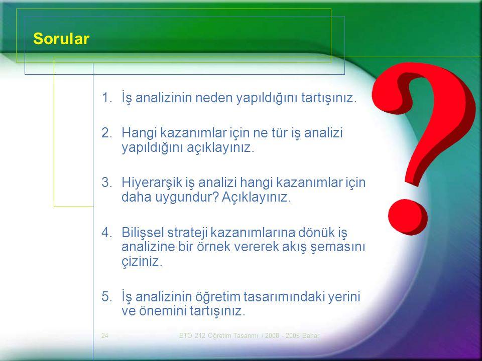 BTÖ 212 Öğretim Tasarımı / 2008 - 2009 Bahar24 Sorular 1.İş analizinin neden yapıldığını tartışınız. 2.Hangi kazanımlar için ne tür iş analizi yapıldı