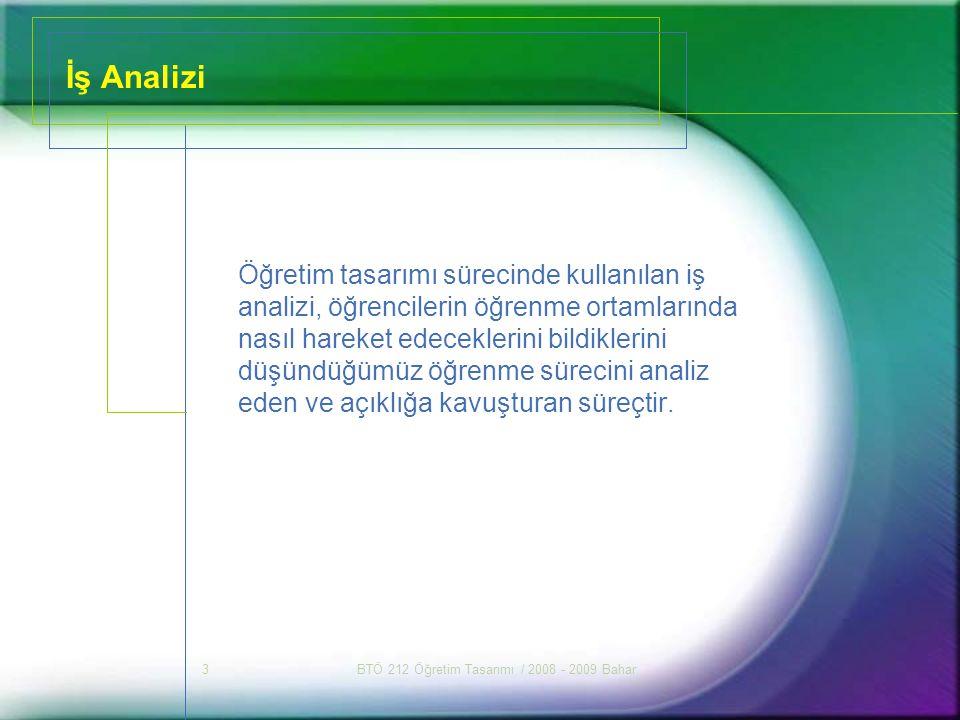 BTÖ 212 Öğretim Tasarımı / 2008 - 2009 Bahar24 Sorular 1.İş analizinin neden yapıldığını tartışınız.