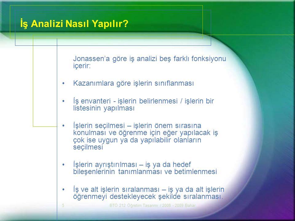 BTÖ 212 Öğretim Tasarımı / 2008 - 2009 Bahar6 Farklı İş Analizi Biçimleri 1.İşlemsel iş analizi (işlemsel –psikomotor beceriler için) 2.Hiyerarşik/ önöğrenme analizi (entelektüel beceriler (kural öğrenimi vb.) için) 3.Bilgi işleme analizi (işlemsel ve bilişsel işler (kavram öğrenimi vb.) için) 4.Tutum kazanımlarının iş analizi 5.Bilişsel strateji kazanımlarının iş analizi