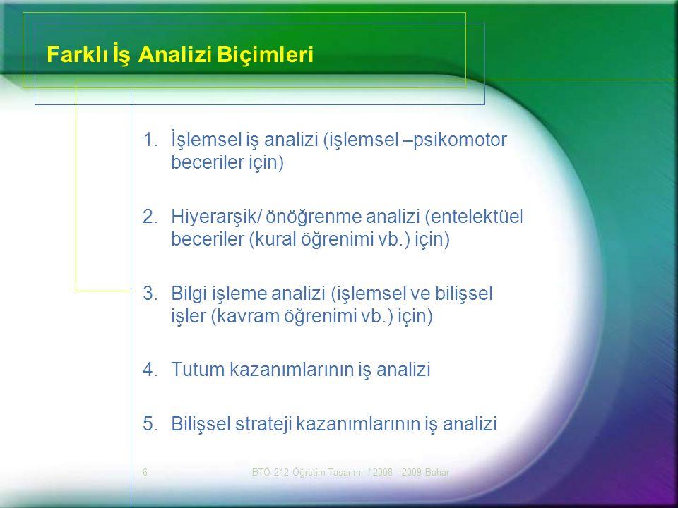 BTÖ 212 Öğretim Tasarımı / 2008 - 2009 Bahar6 Farklı İş Analizi Biçimleri 1.İşlemsel iş analizi (işlemsel –psikomotor beceriler için) 2.Hiyerarşik/ ön