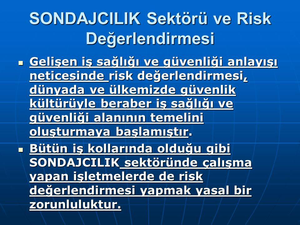 SONDAJCILIK Sektörü ve Risk Değerlendirmesi Gelişen iş sağlığı ve güvenliği anlayışı neticesinde risk değerlendirmesi, dünyada ve ülkemizde güvenlik k