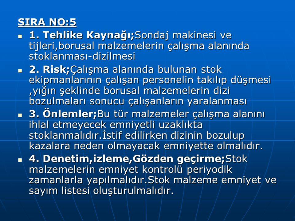 SIRA NO:5 1. Tehlike Kaynağı;Sondaj makinesi ve tijleri,borusal malzemelerin çalışma alanında stoklanması-dizilmesi 1. Tehlike Kaynağı;Sondaj makinesi