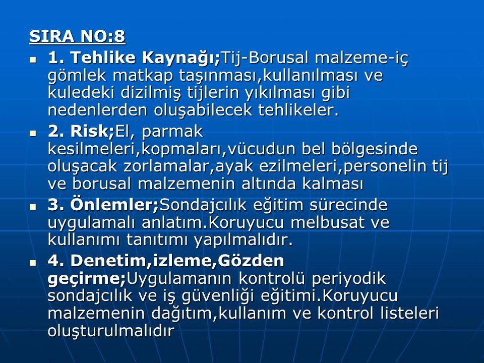 SIRA NO:8 1. Tehlike Kaynağı;Tij-Borusal malzeme-iç gömlek matkap taşınması,kullanılması ve kuledeki dizilmiş tijlerin yıkılması gibi nedenlerden oluş