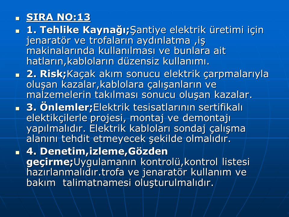 SIRA NO:13 SIRA NO:13 1. Tehlike Kaynağı;Şantiye elektrik üretimi için jenaratör ve trofaların aydınlatma,iş makinalarında kullanılması ve bunlara ait