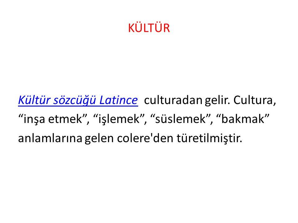 """KÜLTÜR Kültür sözcüğü Latince culturadan gelir. Cultura, """"inşa etmek"""", """"işlemek"""", """"süslemek"""", """"bakmak"""" anlamlarına gelen colere'den türetilmiştir."""