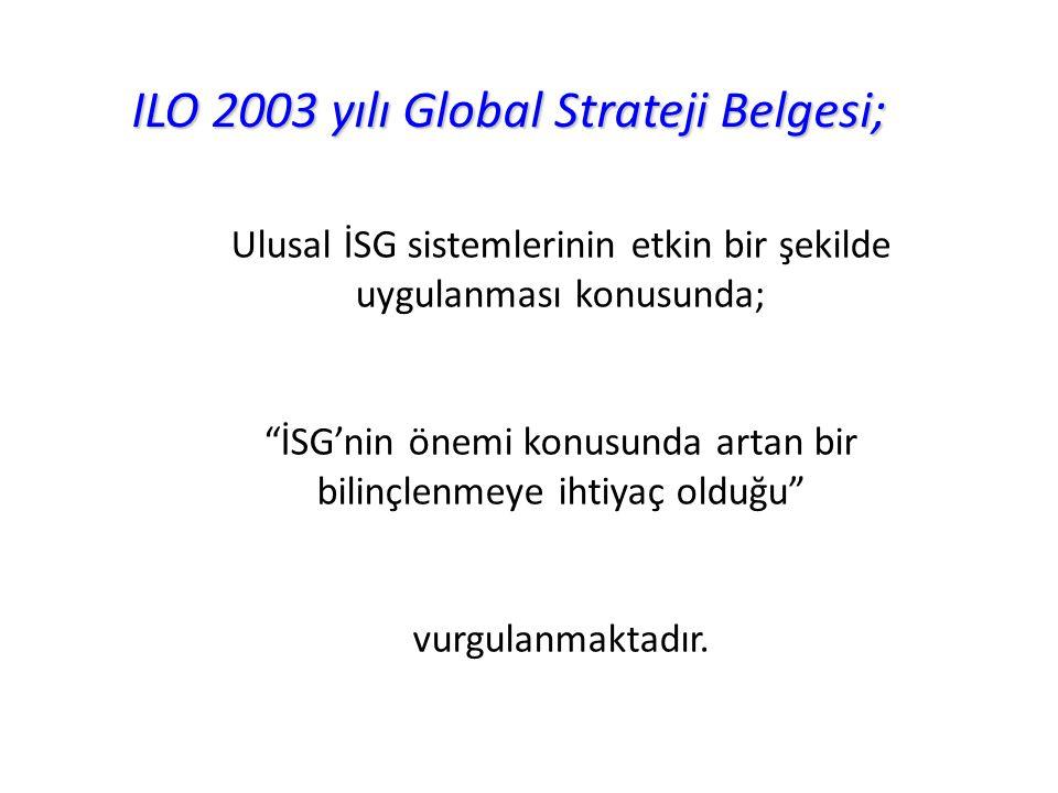 """ILO 2003 yılı Global Strateji Belgesi; Ulusal İSG sistemlerinin etkin bir şekilde uygulanması konusunda; """"İSG'nin önemi konusunda artan bir bilinçlenm"""