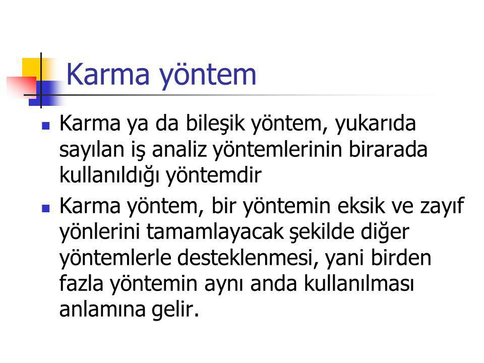 Karma yöntem Karma ya da bileşik yöntem, yukarıda sayılan iş analiz yöntemlerinin birarada kullanıldığı yöntemdir Karma yöntem, bir yöntemin eksik ve