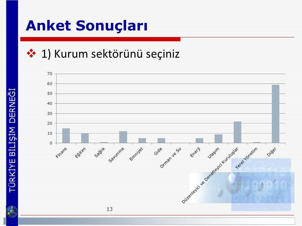 TÜRKİYE BİLİŞİM DERNEĞİ Anket Sonuçları  1) Kurum sektörünü seçiniz 13