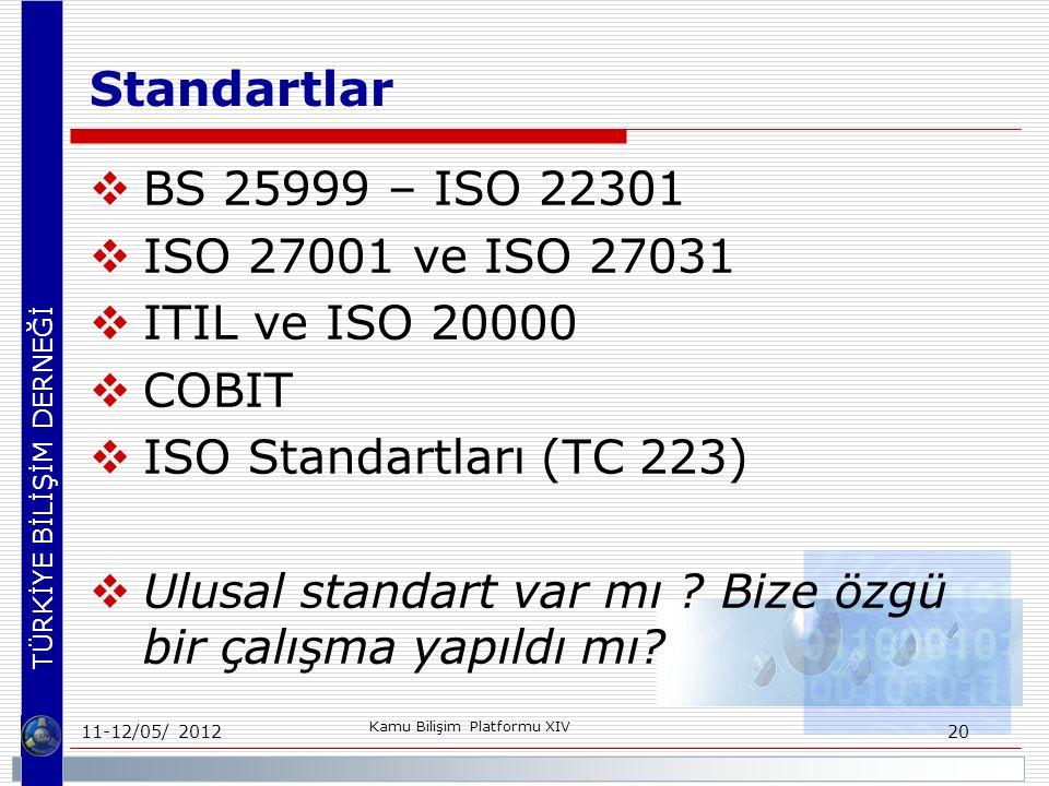 TÜRKİYE BİLİŞİM DERNEĞİ Standartlar  BS 25999 – ISO 22301  ISO 27001 ve ISO 27031  ITIL ve ISO 20000  COBIT  ISO Standartları (TC 223)  Ulusal standart var mı .
