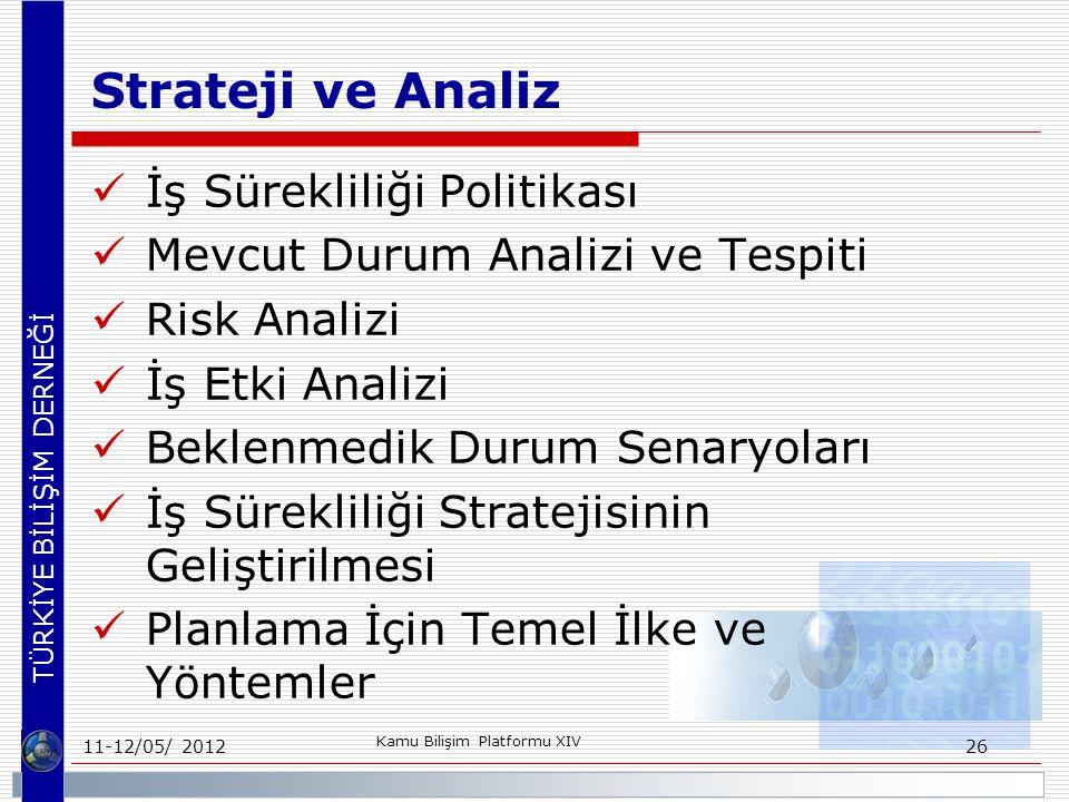 TÜRKİYE BİLİŞİM DERNEĞİ Strateji ve Analiz İş Sürekliliği Politikası Mevcut Durum Analizi ve Tespiti Risk Analizi İş Etki Analizi Beklenmedik Durum Senaryoları İş Sürekliliği Stratejisinin Geliştirilmesi Planlama İçin Temel İlke ve Yöntemler 11-12/05/ 2012 Kamu Bilişim Platformu XIV 26