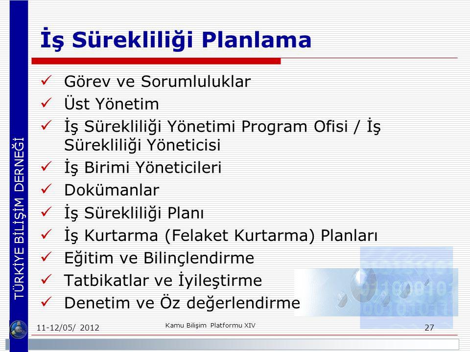 TÜRKİYE BİLİŞİM DERNEĞİ İş Sürekliliği Planlama Görev ve Sorumluluklar Üst Yönetim İş Sürekliliği Yönetimi Program Ofisi / İş Sürekliliği Yöneticisi İş Birimi Yöneticileri Dokümanlar İş Sürekliliği Planı İş Kurtarma (Felaket Kurtarma) Planları Eğitim ve Bilinçlendirme Tatbikatlar ve İyileştirme Denetim ve Öz değerlendirme 11-12/05/ 2012 Kamu Bilişim Platformu XIV 27