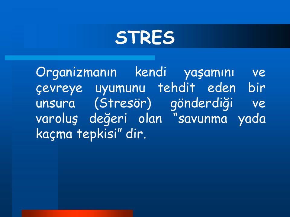 """STRES Organizmanın kendi yaşamını ve çevreye uyumunu tehdit eden bir unsura (Stresör) gönderdiği ve varoluş değeri olan """"savunma yada kaçma tepkisi"""" d"""