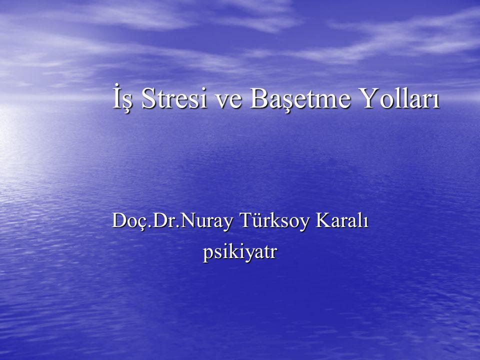 İş Stresi ve Başetme Yolları Doç.Dr.Nuray Türksoy Karalı psikiyatr