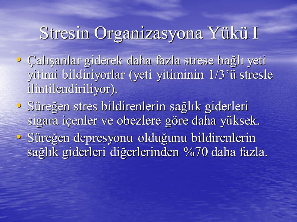 Stresin Organizasyona Yükü I Çalışanlar giderek daha fazla strese bağlı yeti yitimi bildiriyorlar (yeti yitiminin 1/3'ü stresle ilintilendiriliyor).