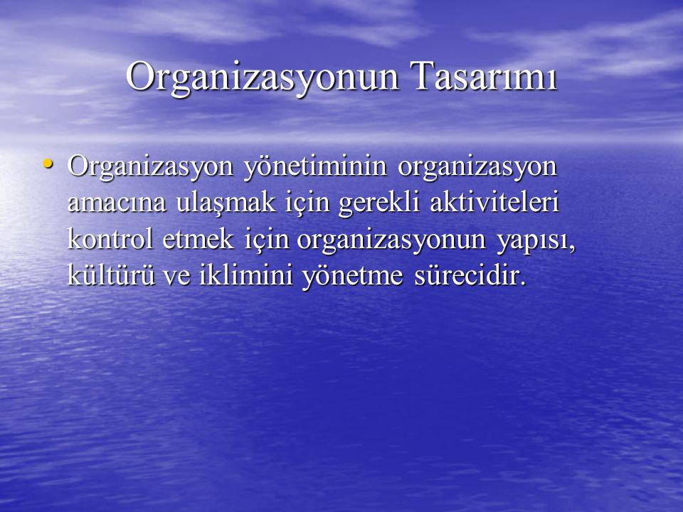 Organizasyonun Tasarımı Organizasyon yönetiminin organizasyon amacına ulaşmak için gerekli aktiviteleri kontrol etmek için organizasyonun yapısı, kültürü ve iklimini yönetme sürecidir.