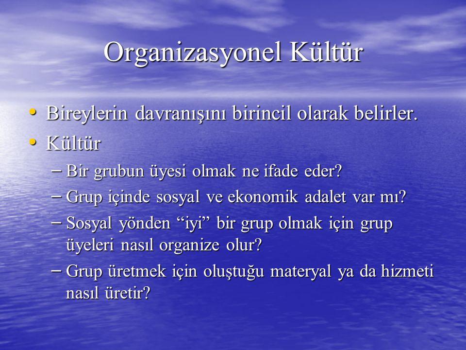 Organizasyonel Kültür Bireylerin davranışını birincil olarak belirler.